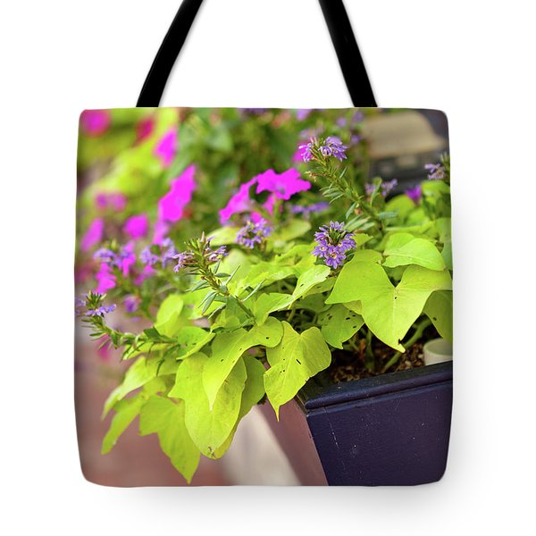 Colorful Summer Flowers In Window Box Tote Bag