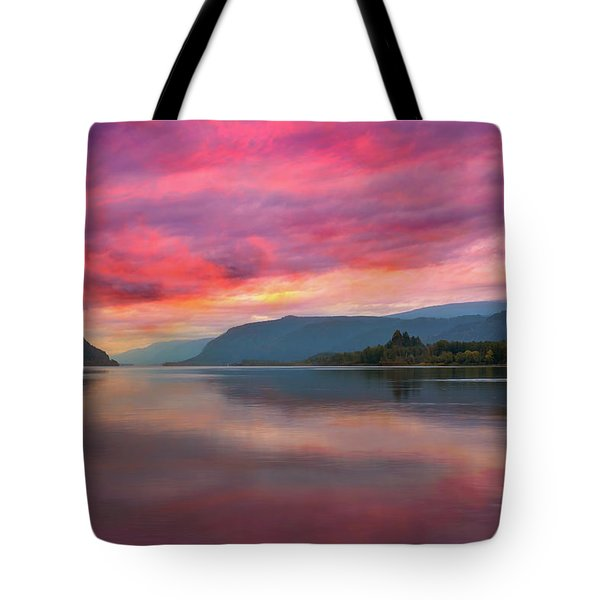 Colorful Sunrise At Columbia River Gorge Tote Bag by David Gn