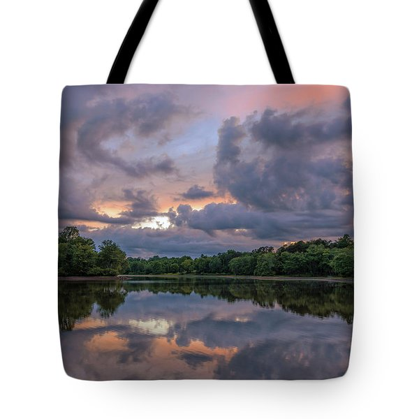 Tote Bag featuring the photograph Colorful Sunset At The Lake by Lori Coleman