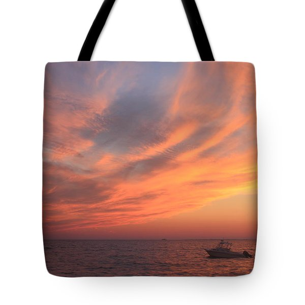 Colorful Sunset Over Cape Cod Bay Tote Bag by John Burk
