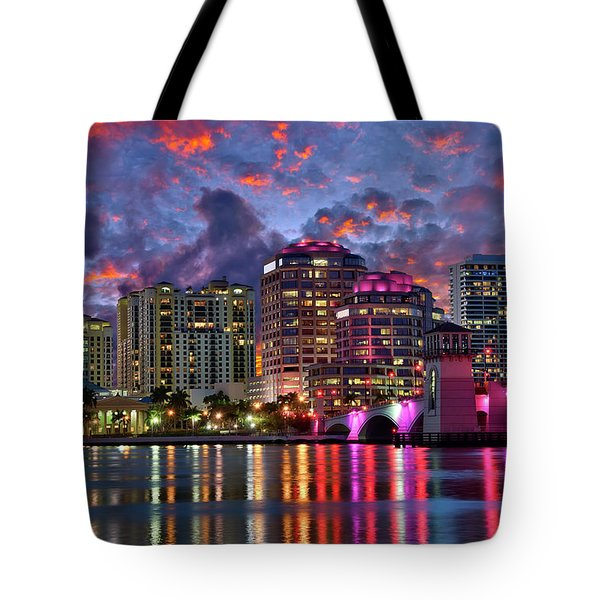 Colorful Sunset Over Downtown West Palm Beach Florida Tote Bag
