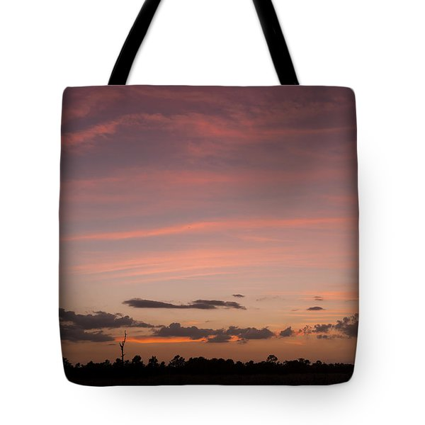 Colorful Sunset Over The Wetlands Tote Bag