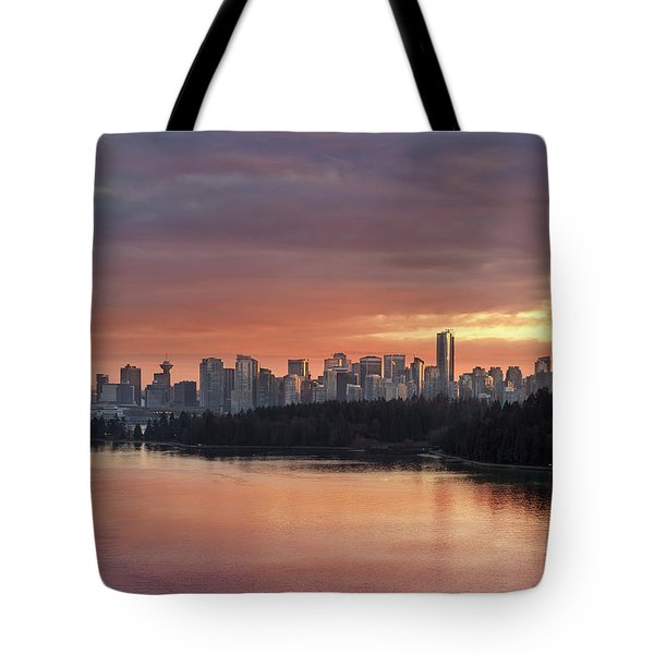 Colorful Sunset Over Vancouver Bc Downtown Skyline Tote Bag