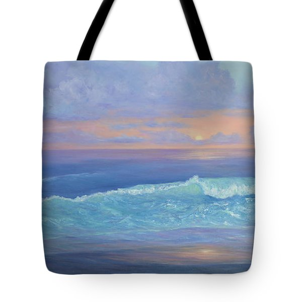 Cape Cod Colorful Sunset Seascape Beach Painting With Wave Tote Bag