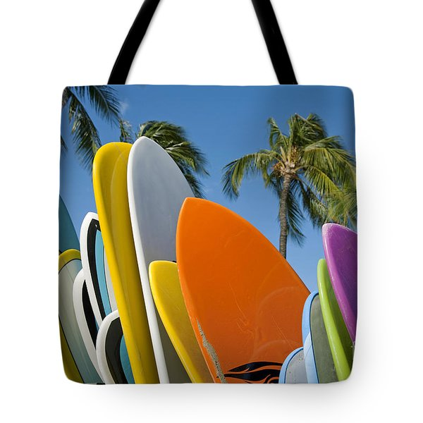 Colorful Surfboards Tote Bag by Ron Dahlquist - Printscapes