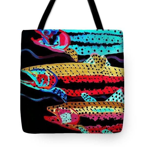 Colorful Swimming Trout Tote Bag by Scott D Van Osdol