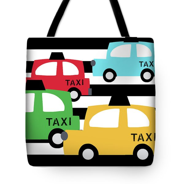 Colorful Taxis- Art By Linda Woods Tote Bag