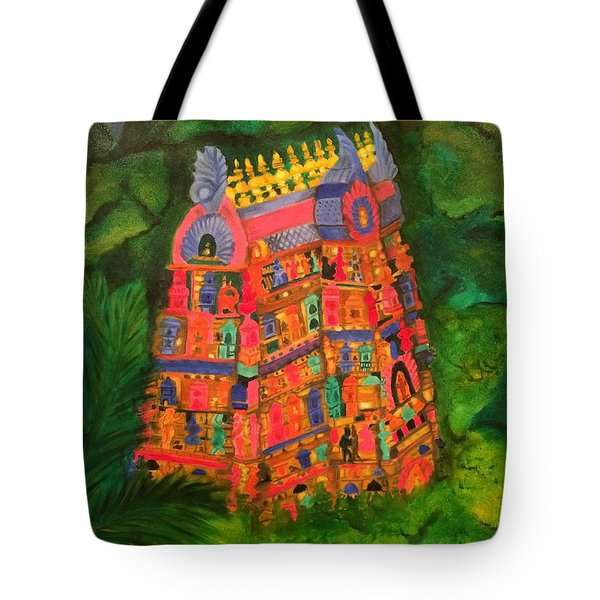Colorful Temple Gopuram Tote Bag by Brindha Naveen