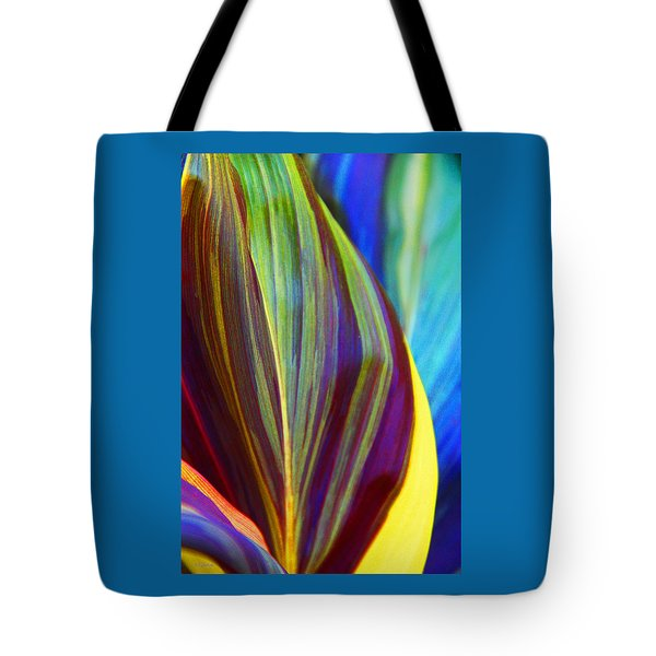 Tote Bag featuring the photograph Colorful Ti Leaves by Kerri Ligatich