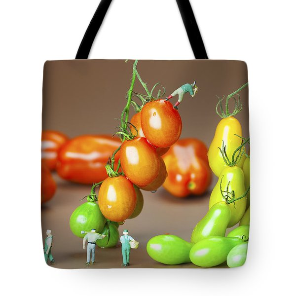 Tote Bag featuring the photograph Colorful Tomato Harvest Little People On Food by Paul Ge