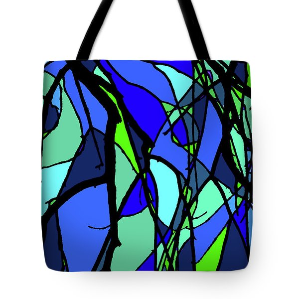 Colorful Tree Abstract Blue Tote Bag