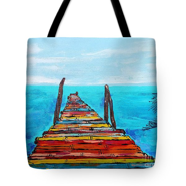 Colorful Tropical Pier Tote Bag