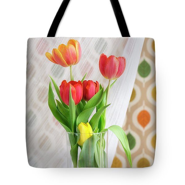 Colorful Tulips And Bulbs In Glass Vase Tote Bag