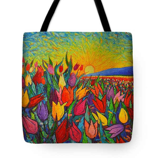 Colorful Tulips Field Sunrise - Abstract Impressionist Palette Knife Painting By Ana Maria Edulescu Tote Bag by Ana Maria Edulescu