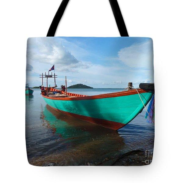 Colorful Turquoise Boat Near The Cambodia Vietnam Border Tote Bag
