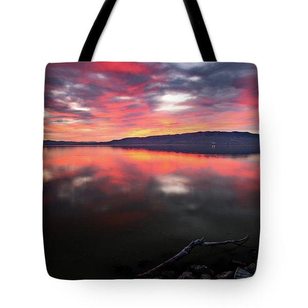 Colorful Utah Lake Sunset Tote Bag