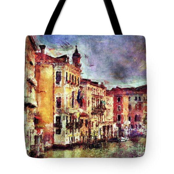 Colorful Venice Canal Tote Bag