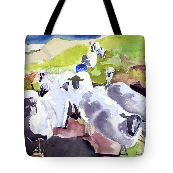 Colorful Waiting Sheep Tote Bag