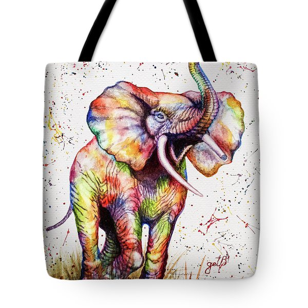 Tote Bag featuring the painting Colorful Watercolor Elephant by Georgeta Blanaru