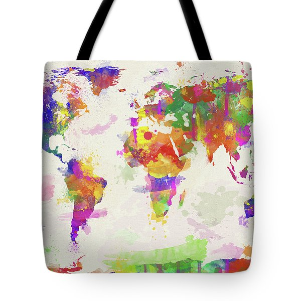 Colorful Watercolor World Map Tote Bag