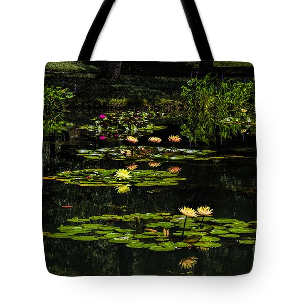 Tote Bag featuring the photograph Colorful Waterlily Pond by Barbara Bowen