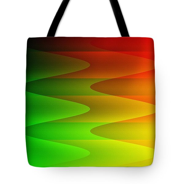 Tote Bag featuring the digital art Colorful Waves by Kathleen Sartoris