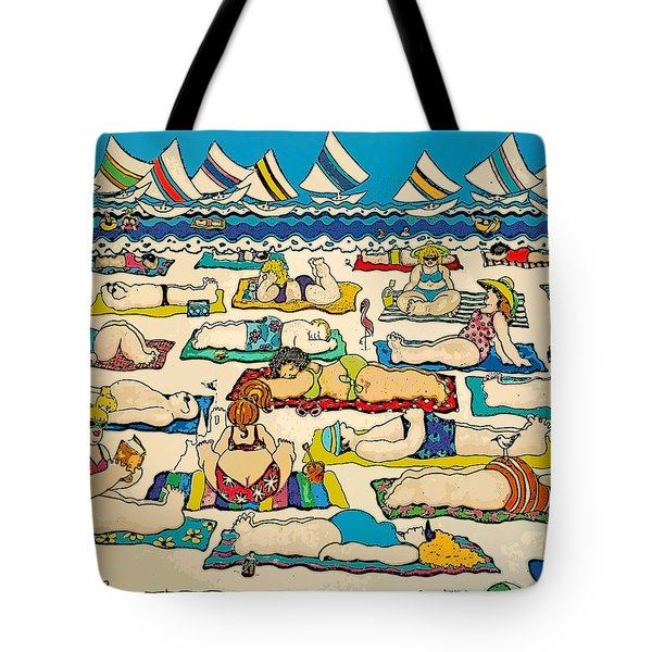 Colorful Whimsical Beach Seashore Women Men Tote Bag