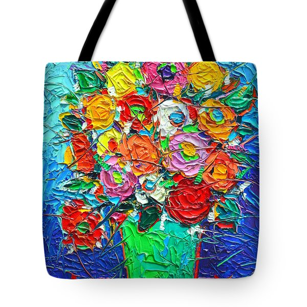 Colorful Wildflowers Abstract Modern Impressionist Palette Knife Oil Painting By Ana Maria Edulescu  Tote Bag