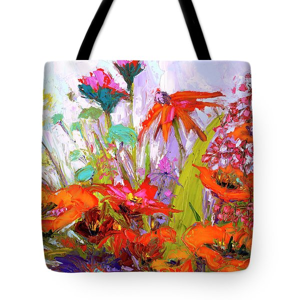 Tote Bag featuring the painting Colorful Wildflowers Bunch, Oil Painting, Palette Knife by Patricia Awapara