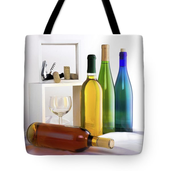 Colorful Wine Bottles Tote Bag