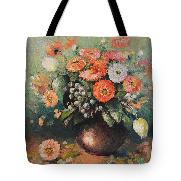 Coloroful Zinnias Bouqet Tote Bag