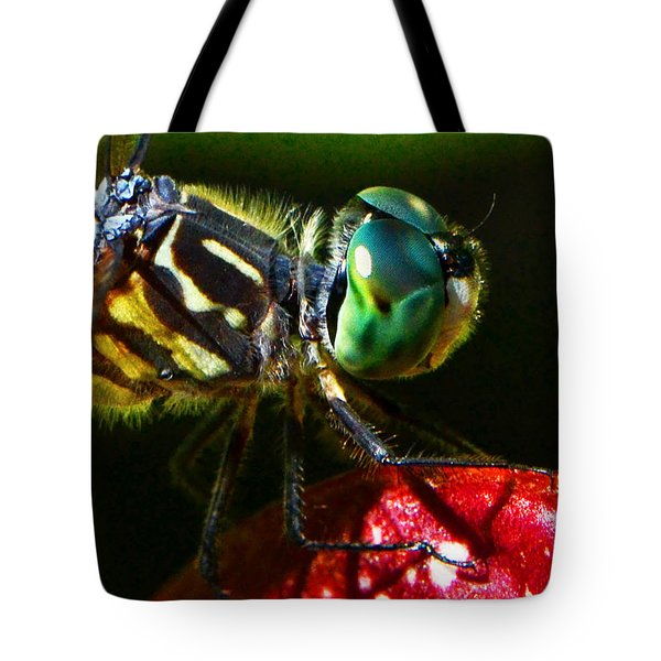 Tote Bag featuring the photograph Colors Of Nature - Dragonfly On A Pitcher Plant 007 by George Bostian