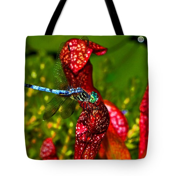 Tote Bag featuring the photograph Colors Of Nature - Profile Of A Dragonfly 003 by George Bostian