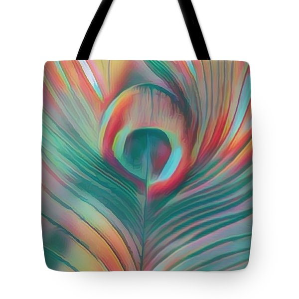 Colors Of The Rainbow Peacock Feather Tote Bag