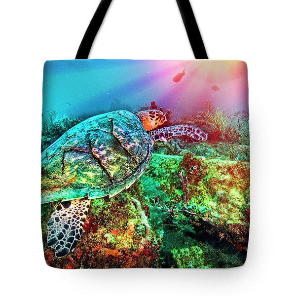 Tote Bag featuring the photograph Colors Of The Sea In Lights by Debra and Dave Vanderlaan