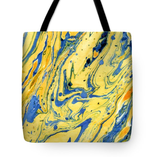 Tote Bag featuring the painting Colors On The Lake by Menega Sabidussi