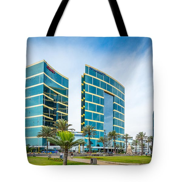 Tote Bag featuring the photograph Colour Buildings Lima. by Gary Gillette