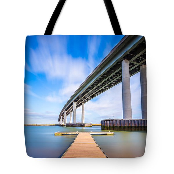 Tote Bag featuring the photograph Colour Wide River Bridge by Gary Gillette