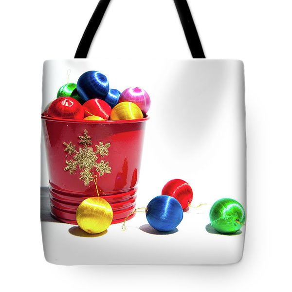 Coloured Baubles In A Pot Tote Bag