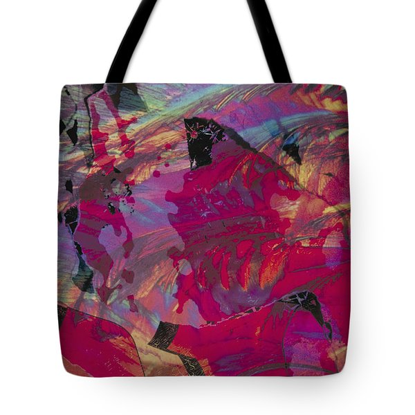colourful abstract fantasy landscape - Red Mountain Tote Bag