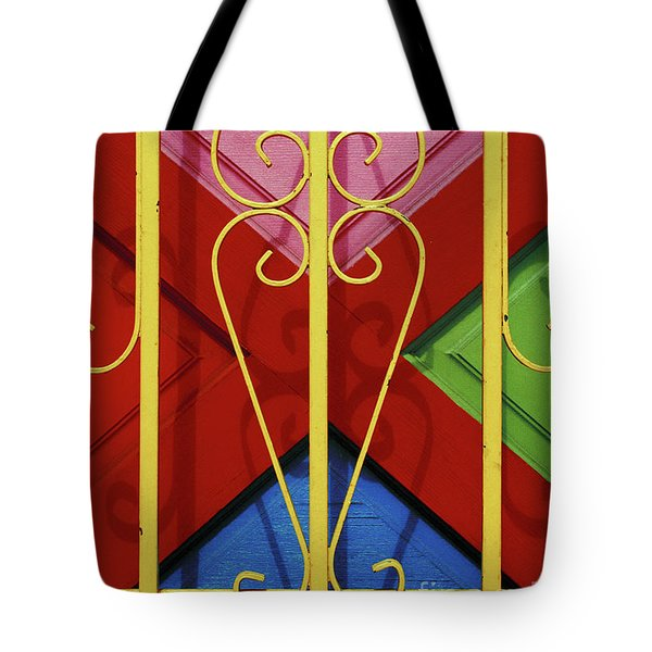 colourful abstract urban photography - The Red Cross Tote Bag