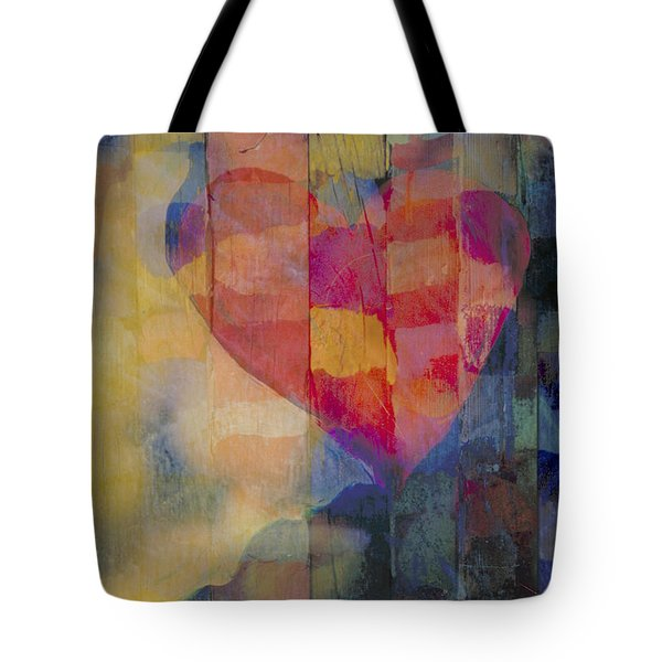 colourful abstract Valentine - Heart Afloat Tote Bag