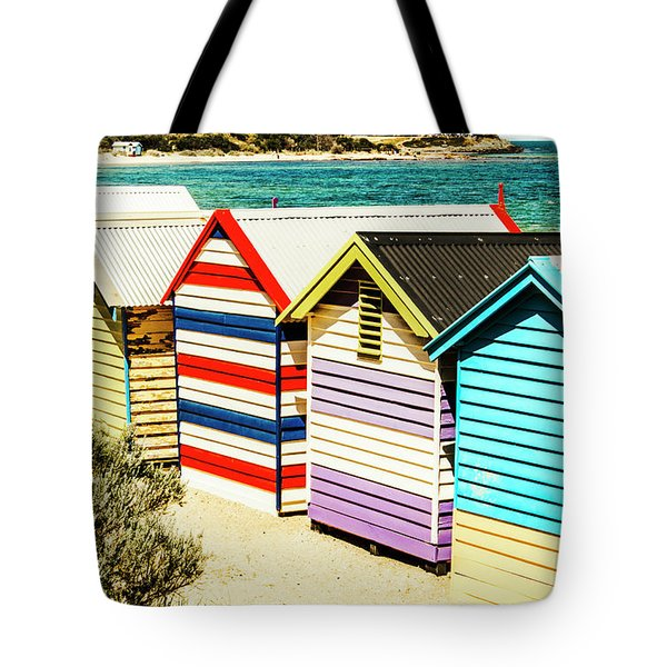 Colourful Bathing Sheds Tote Bag