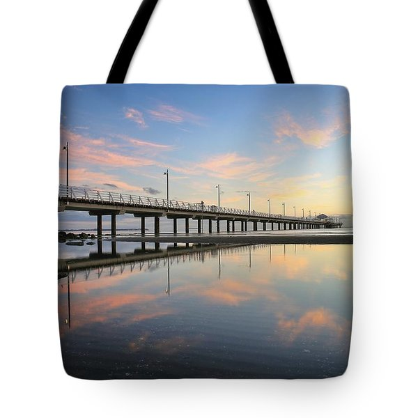 Colourful Cloud Reflections At The Pier Tote Bag