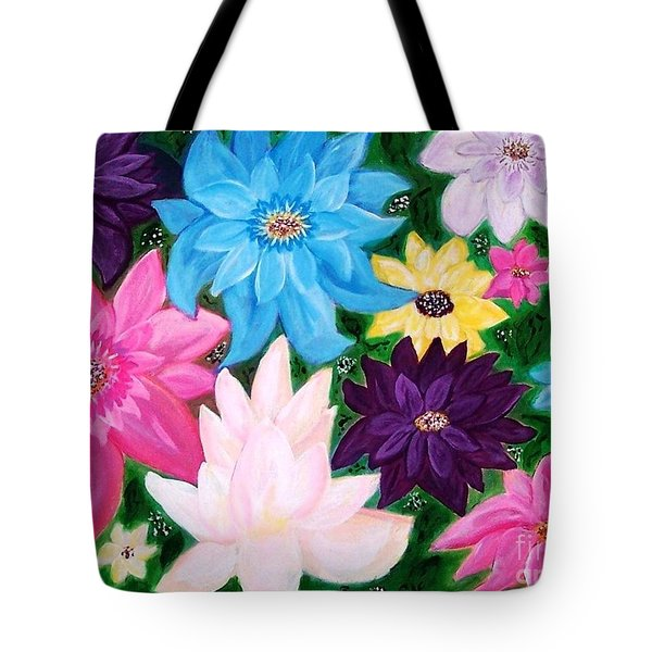 Tote Bag featuring the painting Colourful Flowers by Sonya Nancy Capling-Bacle
