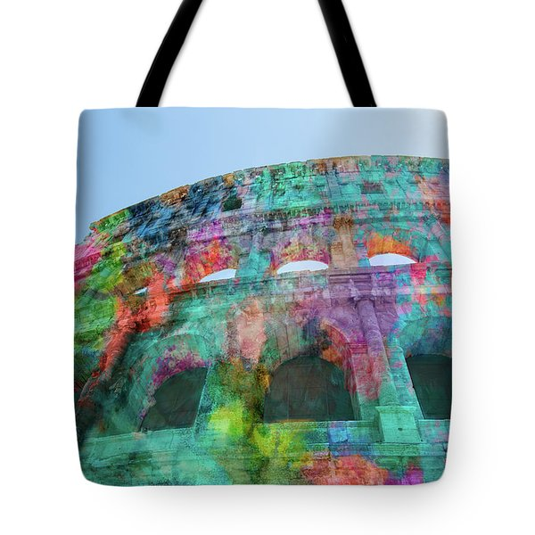 Tote Bag featuring the mixed media Colourful Grungy Colosseum In Rome by Clare Bambers