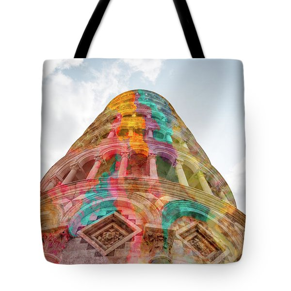 Tote Bag featuring the mixed media Colourful Leaning Tower Of Pisa by Clare Bambers