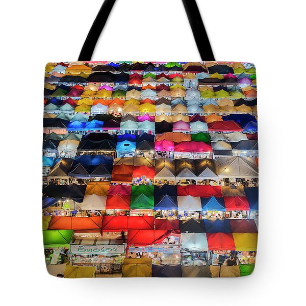 Tote Bag featuring the photograph Colourful Night Market by Pradeep Raja Prints