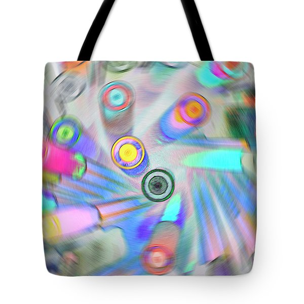 Tote Bag featuring the digital art Colourful Pens by Wendy Wilton