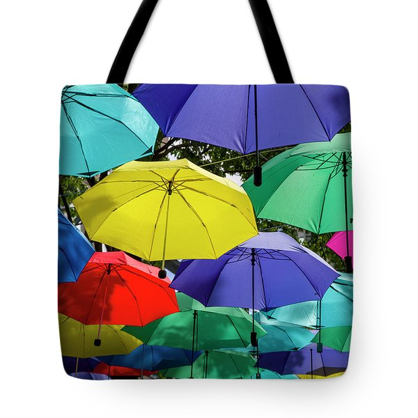 Tote Bag featuring the photograph Colourful Umbrella by Ross G Strachan